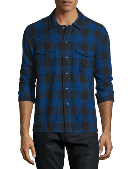 Hudson Distressed Buffalo-Check Long-Sleeve Shirt