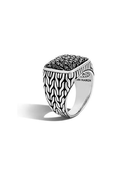 John Hardy Men's Lava Black Sapphire Ring, Size 10