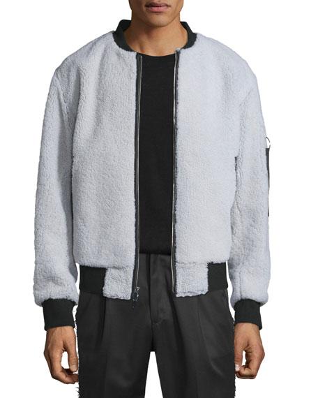 Ovadia & Sons Shearling Fur Bomber Jacket w/Contrast