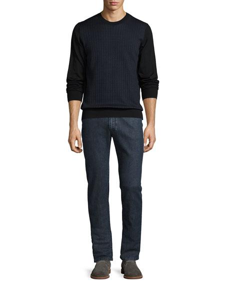 Dark-Wash Straight-Leg Denim Jeans, Blue