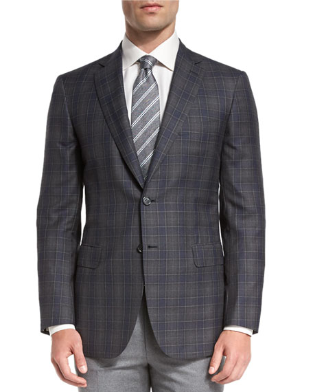 Brioni Plaid Two-Button Sport Coat, Gray/Blue