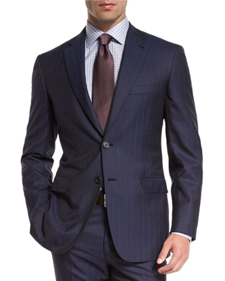 Brioni Multi-Stripe Super 150s Wool Two-Piece Suit, Navy