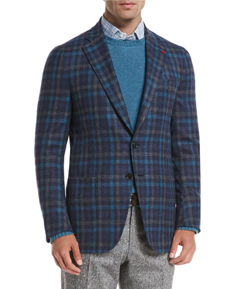 Large-Check Wool/Cashmere-Blend Two-Button Sport Coat