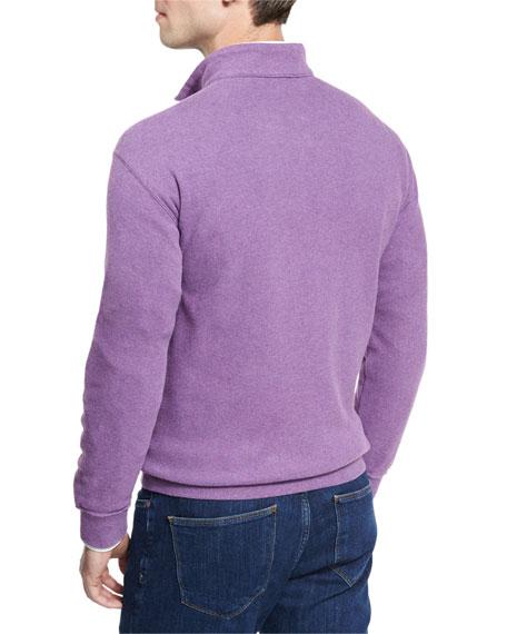 Melange Fleece Quarter-Zip Sweater, Snapdragon