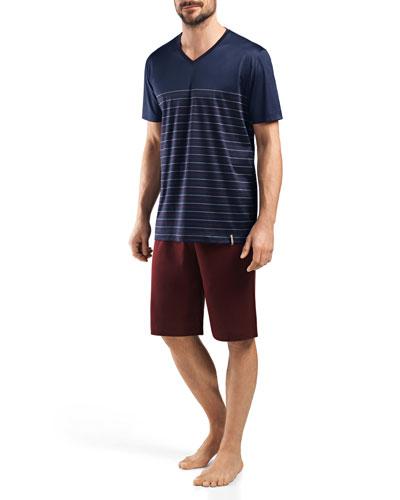 Giorgio Short-Sleeve Lounge Shirt and Shorts Set, Stripe