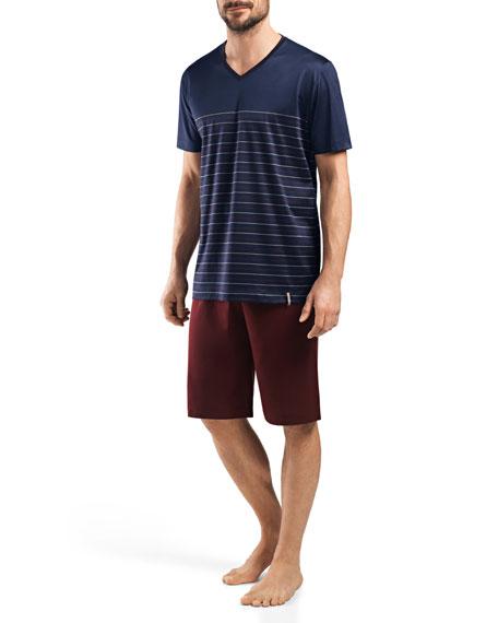 Hanro Giorgio Short-Sleeve Lounge Shirt and Shorts Set,