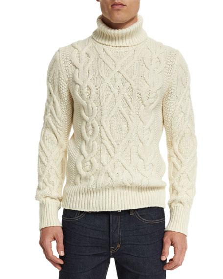 tom ford aran cable knit fisherman turtleneck sweater ivory. Black Bedroom Furniture Sets. Home Design Ideas