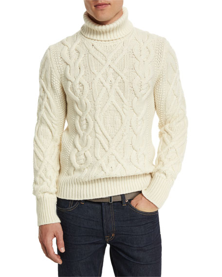 Tom Ford Aran Cable Knit Fisherman Turtleneck Sweater Ivory