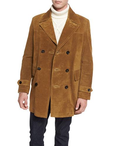 Vintage Long Suede Pea Coat