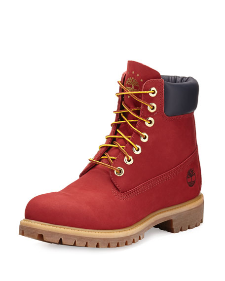 "Timberland 6"" Premium Waterproof Hiking Boot, Red 