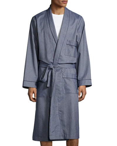 Tweed Robe with Piping  Blue