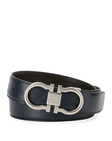 Salvatore Ferragamo Reversible Double-Gancini Dress Belt and
