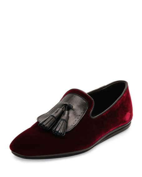 Salvatore Ferragamo Velvet Smoking Slipper with Oversized