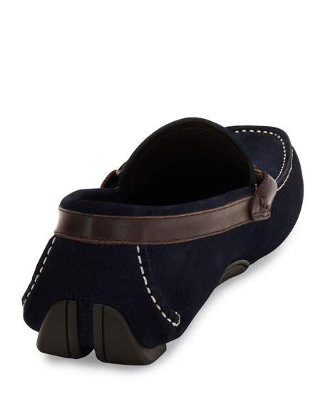 Front Suede and Calfskin Side-Gancio Driver
