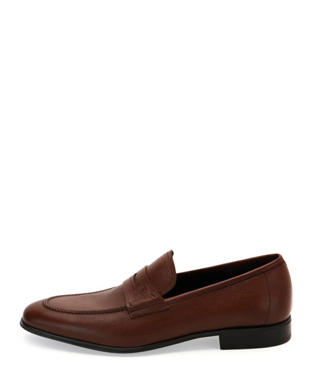 Textured Calfskin Penny Loafer, Brown