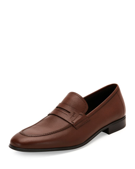 Men's Textured Calfskin Penny Loafer, Brown