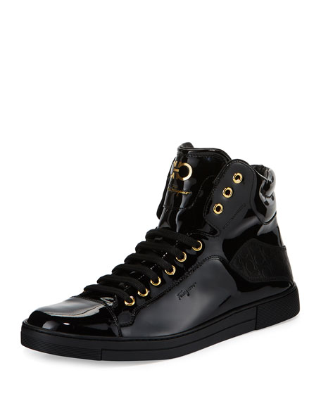Salvatore Ferragamo Men's Patent Leather High-Top Sneaker, Black