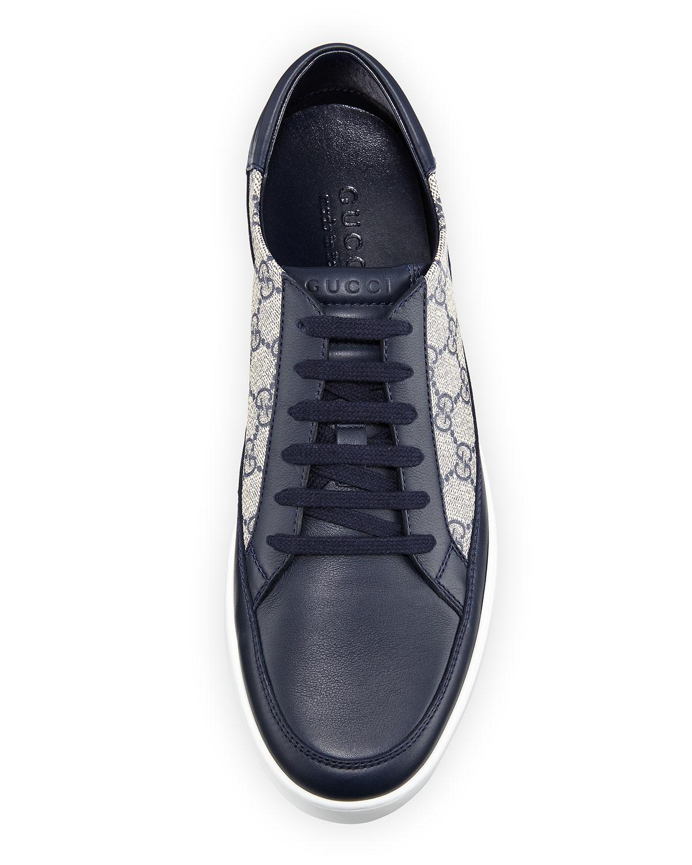 16e643e4b282 Gucci Men's Common GG Supreme Low-Top Sneakers | Neiman Marcus