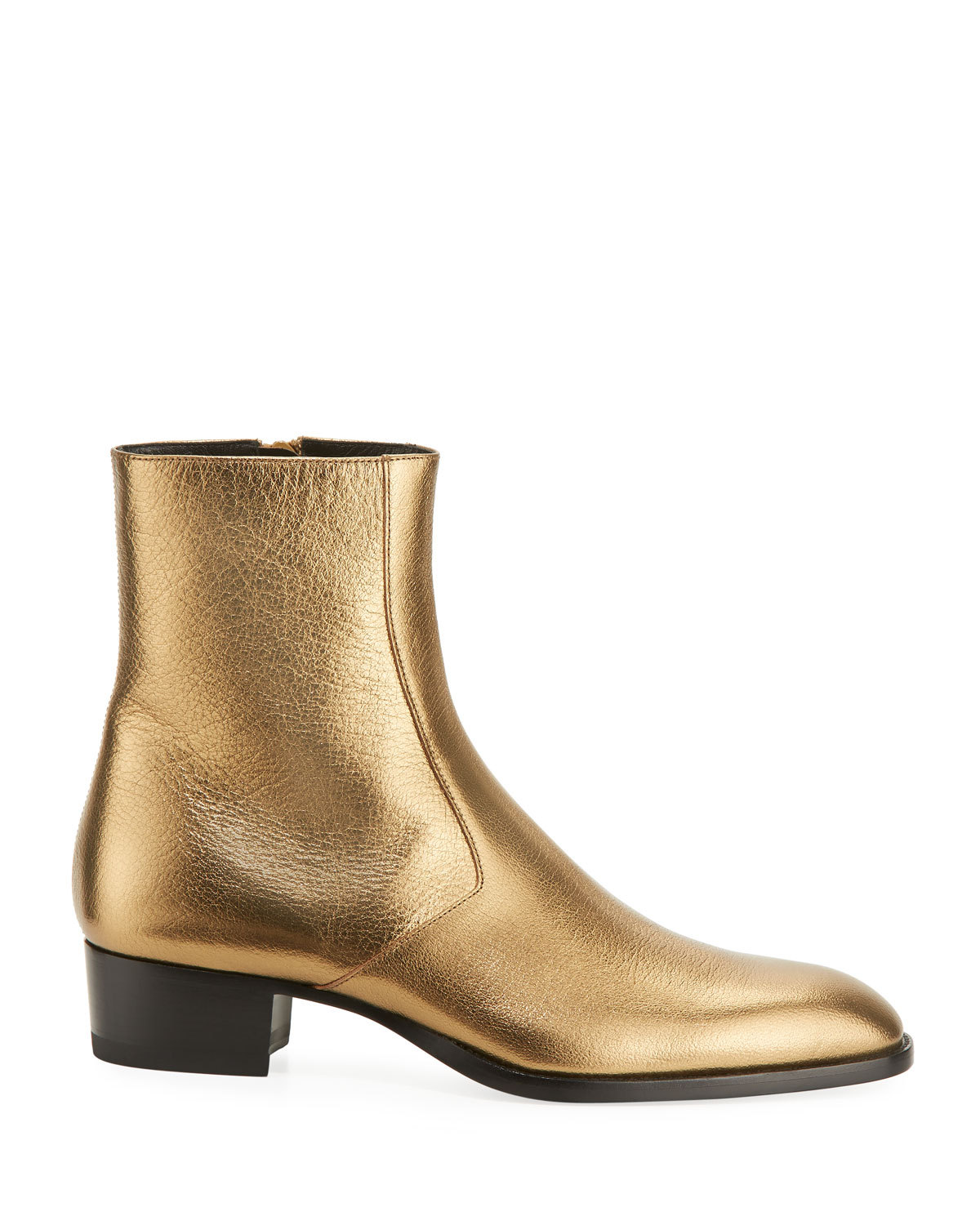 gold ysl boots