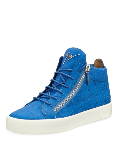 Giuseppe Zanotti Men's Crocodile-Embossed Leather Mid-Top Sneaker