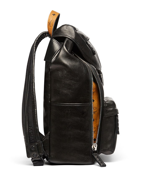 Killian Men's Medium Leather Logo Backpack, Black