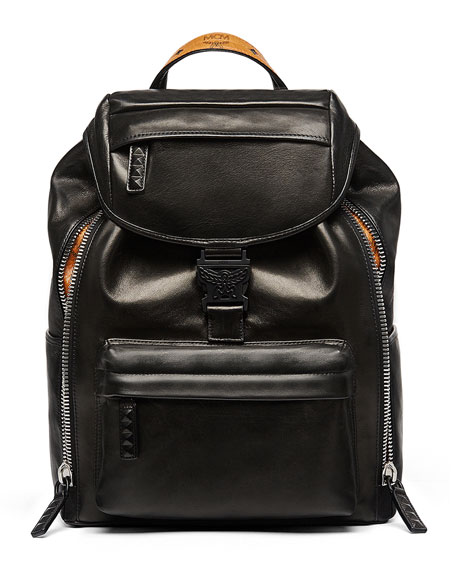 MCM Killian Men's Medium Leather Logo Backpack, Black