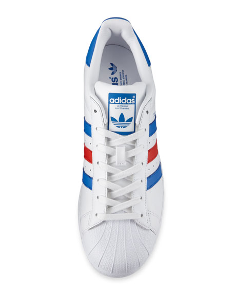 Men's Superstar Classic Leather Sneaker, White/Blue/Red