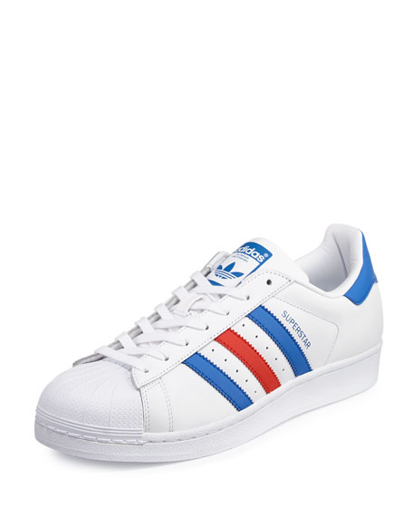 Adidas Men's Superstar Classic Leather Sneaker, White/Blue/Red