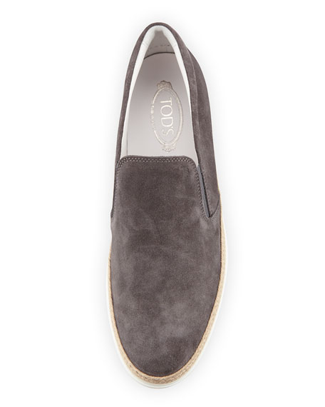 Image 2 of 3: Tod's Suede Espadrille Slip-On Sneaker, Gray