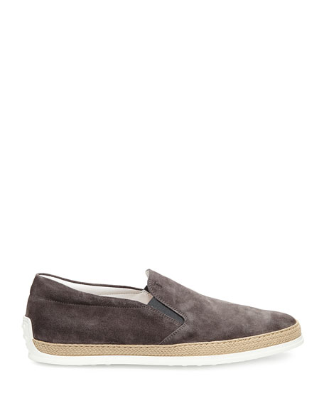 Image 3 of 3: Tod's Suede Espadrille Slip-On Sneaker, Gray