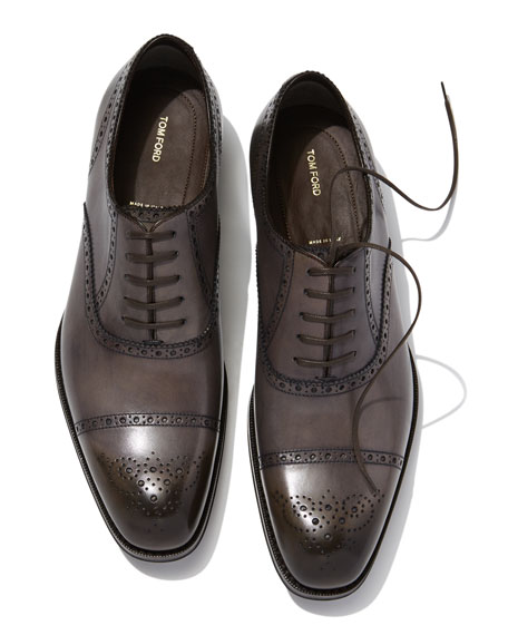 Image 2 of 6: Edgar Medallion Cap-Toe Shoe