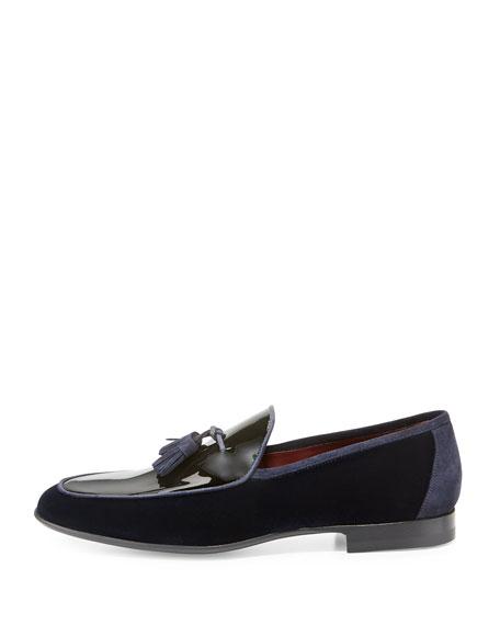 Velvet & Patent Leather Tassel Loafer, Navy