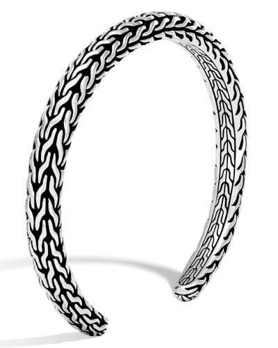 Men's Classic Chain Sterling Silver Slim Cuff, Silver