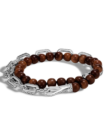 Men's Classic Chain Medium Double-Wrap Wooden Bead Bracelet, Brown