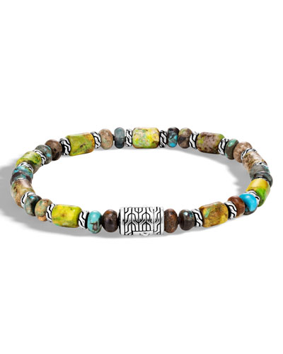 Men's Classic Chain Sterling Silver & Turquoise Bead Bracelet