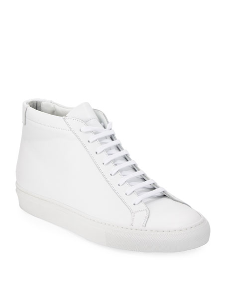 Leather Mid-Top Sneakers, White
