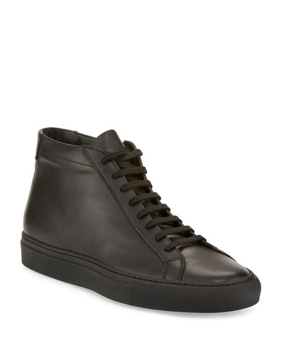 Men's Basic Leather High-Top Sneakers  Black