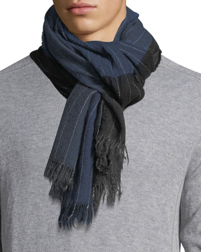 Kishorn Washed Soho Striped Cashmere Scarf