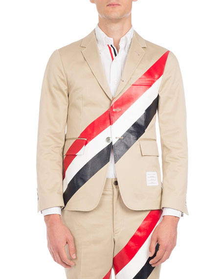Tricolor-Striped Three-Button Blazer