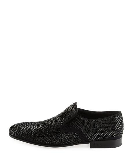 Crystal-Studded Formal Loafer, Black