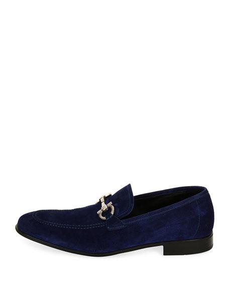 Suede Gancini Loafer, Ultra Blue
