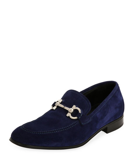 Salvatore Ferragamo Men's Suede Gancini Loafer, Ultra Blue