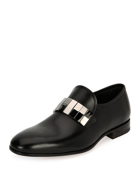 Salvatore Ferragamo Broken-Mirror Leather Formal Loafer, Black