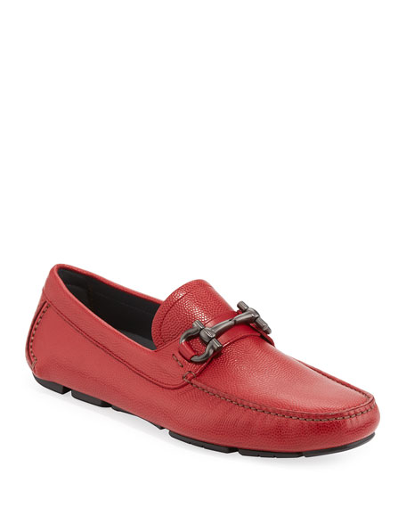 Salvatore Ferragamo Men's Leather Gancini Driver, Red