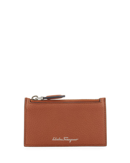 Salvatore Ferragamo Firenze Leather Zip-Top Card Case, Brown