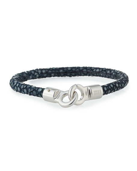 Marco Dal Maso Mens Braided Leather/Silver Kick Cuff Bracelet, Blue