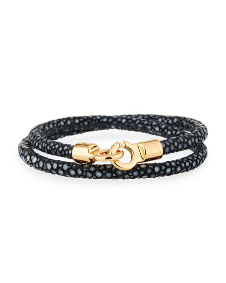 Brace Humanity Men's Stingray Wrap Bracelet, Black/Golden
