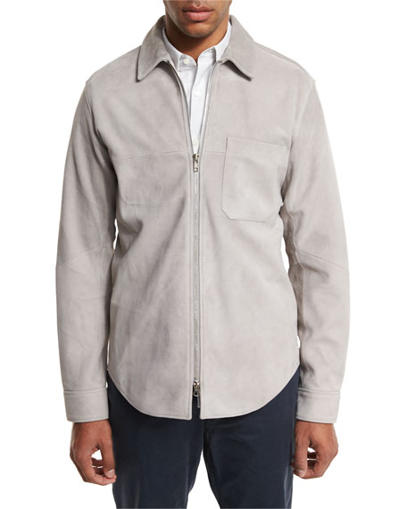 Theory Neo Suede Zip-Front Shirt Jacket, Gray