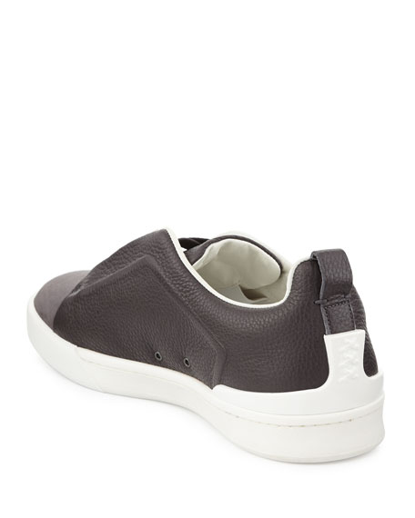 Ermenegildo Zegna Couture Men's Triple-Stitch Leather & Suede Low-Top Sneakers, Gray