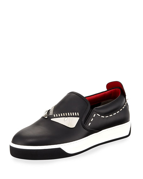 Fendi Monster Metal-Stitch Slip-On Sneaker, Black